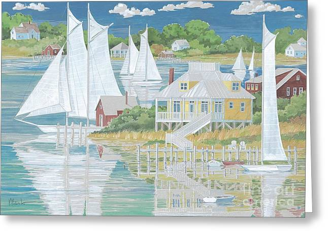 Yellow Sailboats Greeting Cards - Captains Home Greeting Card by Paul Brent