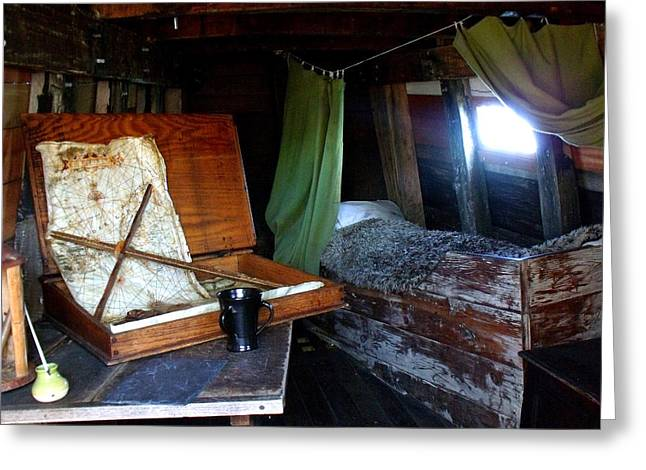 Captains Quarters Greeting Cards - Captains Quarters Aboard The Mayflower Greeting Card by Marilyn Holkham