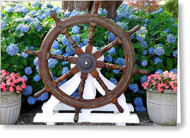 Wooden Ship Greeting Cards - Yankee Captains Wheel Greeting Card by Jean Hall