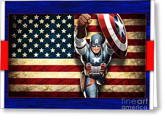 Captain America Greeting Cards - Captian America Greeting Card by Marvin Blaine