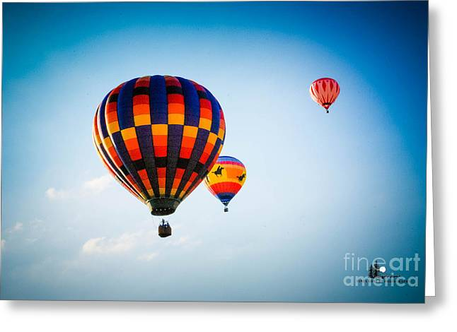 Three Hot Air Balloons Greeting Cards - Captin Gutty in Flight Greeting Card by Grace Grogan
