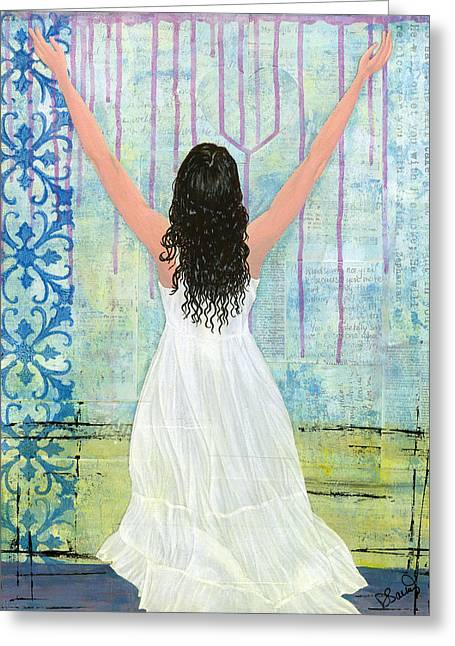 Praying Hands Mixed Media Greeting Cards - Captivated Greeting Card by Debbie  Saenz