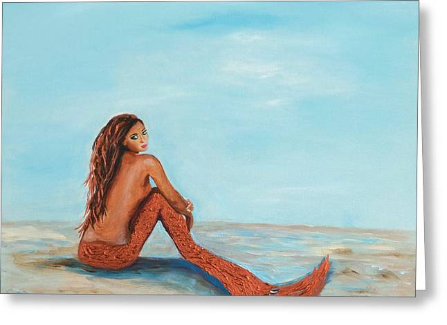 Print On Acrylic Greeting Cards - Captivating Copper Mermaid Greeting Card by Leslie Allen
