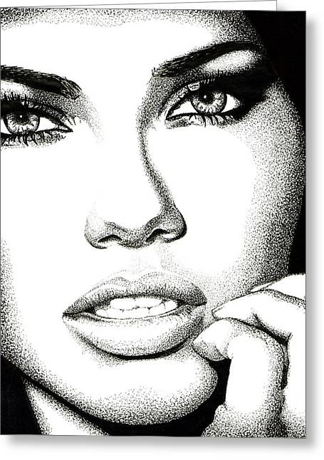 Adriana Lima Greeting Cards - Captivating Eyes Greeting Card by Cory Still