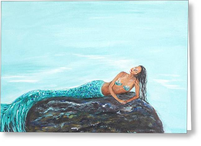 Mermaid Poster Greeting Cards -  A Captivating Mermaid Greeting Card by Leslie Allen