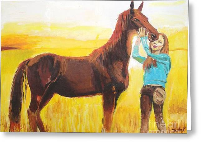 Wild Horses Greeting Cards - Captive Audience Greeting Card by Judy Kay