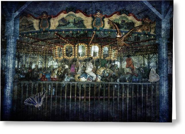Butterfly Prey Greeting Cards - Captive on the Carousel of Time Greeting Card by Belinda Greb