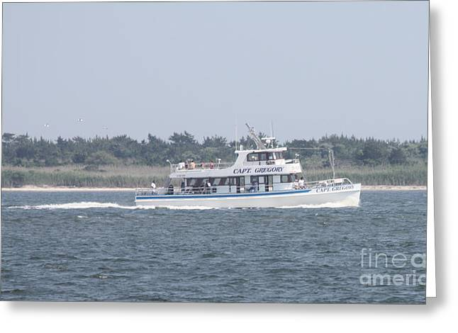 Captree's Captain Gregory Heading Out To Sea Greeting Card by John Telfer