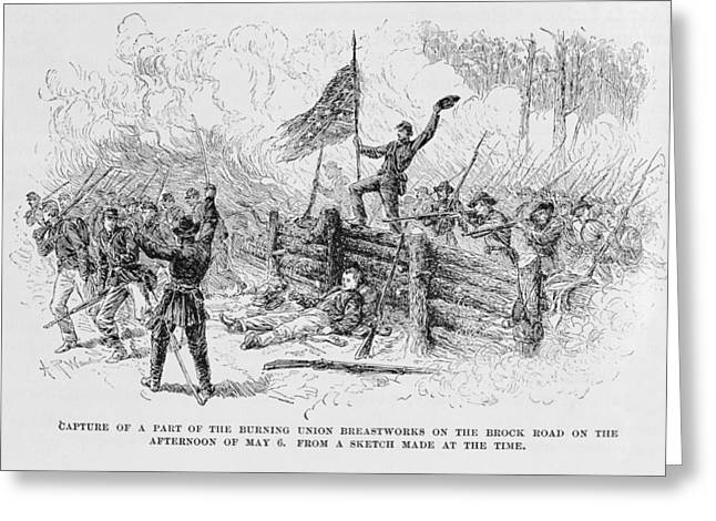 Confederate Flag Photographs Greeting Cards - Capture Of A Part Of The Burning Union Breastworks On The Brock Road On The Afternoon Of May 6th Greeting Card by Alfred R. Waud