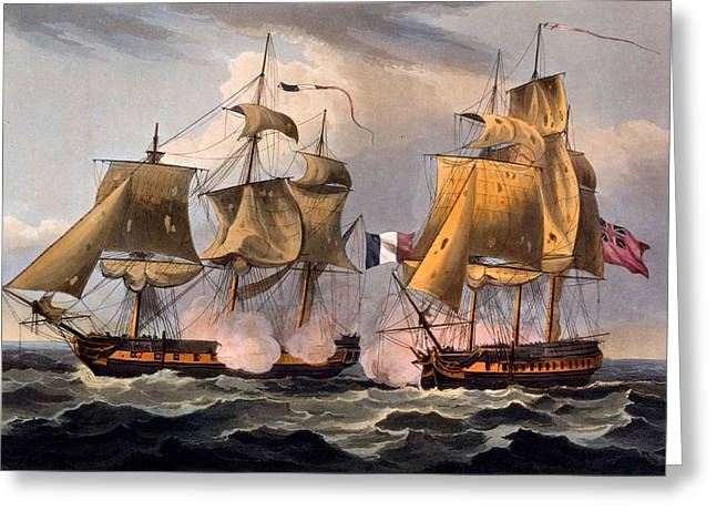 Revolutionary War Drawings Greeting Cards - Capture Of Castor Greeting Card by Thomas Whitcombe