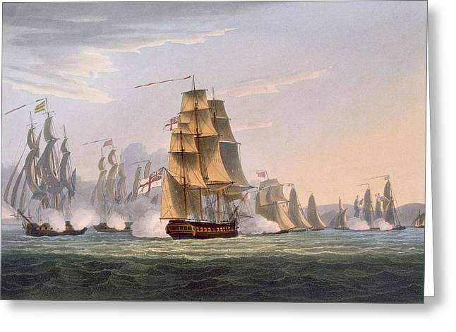Naval History Greeting Cards - Capture Of Le Sparviere Greeting Card by Thomas Whitcombe