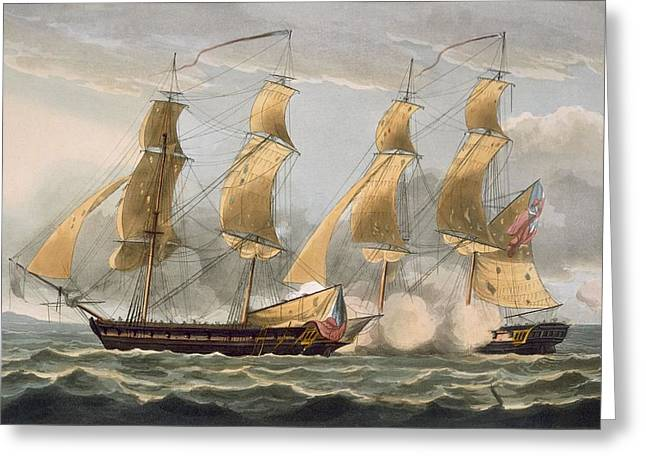 Historic Ship Paintings Greeting Cards - Capture Of The Argus Greeting Card by Thomas Whitcombe