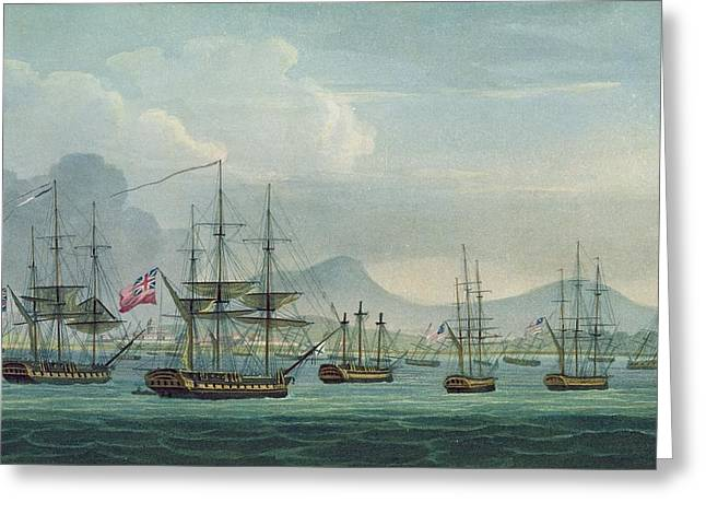 Historic Ship Greeting Cards - Capture Of The Maria Riggersbergen Greeting Card by Thomas Whitcombe