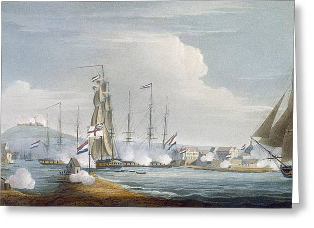 Cannon Drawings Greeting Cards - Capture Of The Port Of Curacoa, Dutch Greeting Card by Thomas Whitcombe