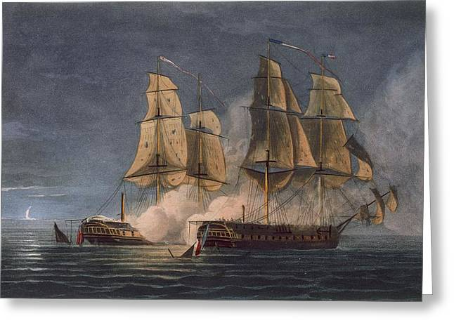 Cannon Drawings Greeting Cards - Capture Of The Thetis By Hms Amethyst Greeting Card by Thomas Whitcombe