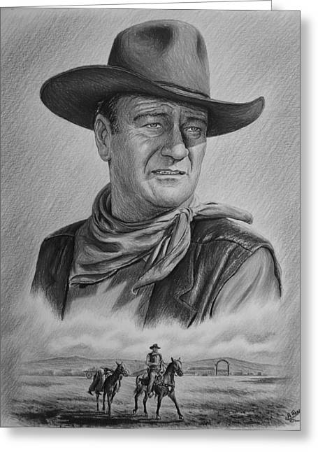 Cowboy Sketches Greeting Cards - Captured bw version Greeting Card by Andrew Read