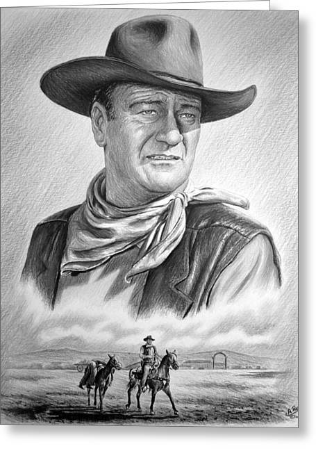 Cowboy Sketches Greeting Cards - Captured bw version no2 Greeting Card by Andrew Read