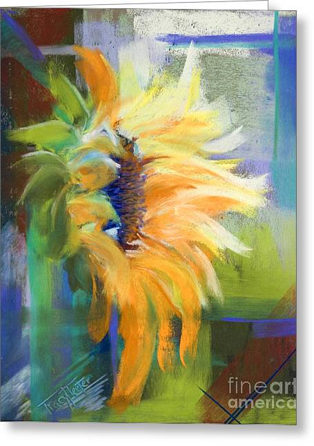 Sunflowers Pastels Greeting Cards - Captured Sunlight Greeting Card by Tracy L Teeter