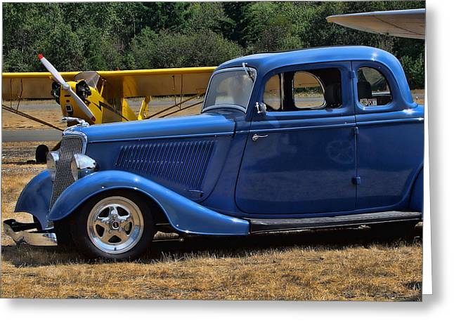 Ron Roberts Photography Framed Prints Greeting Cards - Car and Plane Greeting Card by Ron Roberts