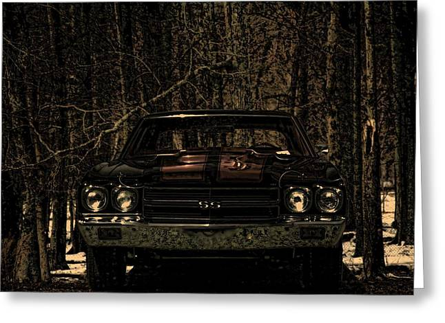 Vintage Cars Greeting Cards - Car Art Chevy Chevelle SS Moolight Quiet Greeting Card by Lesa Fine