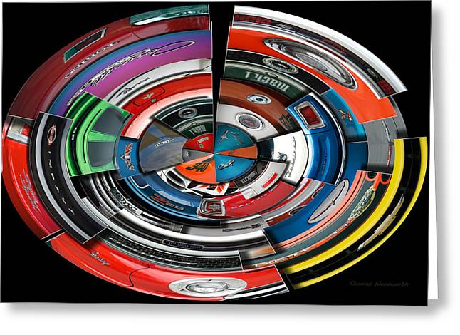 Coller Greeting Cards - Car Badges Collage Polar View Greeting Card by Thomas Woolworth
