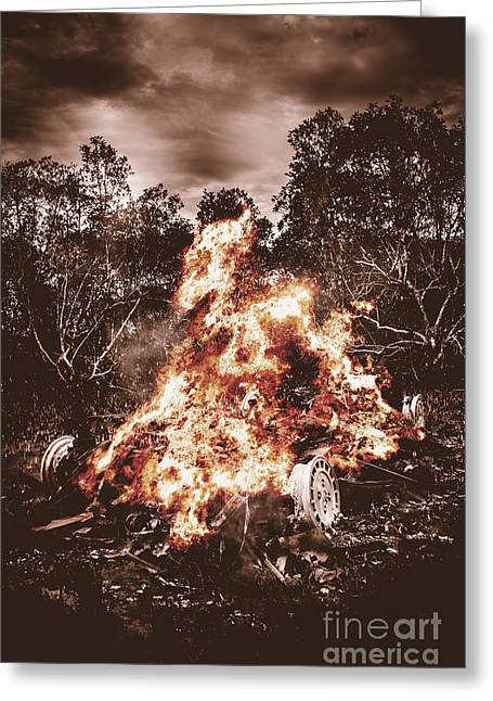 Oppression Greeting Cards - Car bomb inferno Greeting Card by Ryan Jorgensen