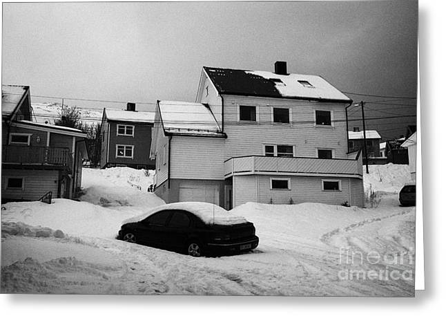 Scandanavian Greeting Cards - car buried in snow in front of traditional wooden home Honningsvag finnmark norway europe Greeting Card by Joe Fox
