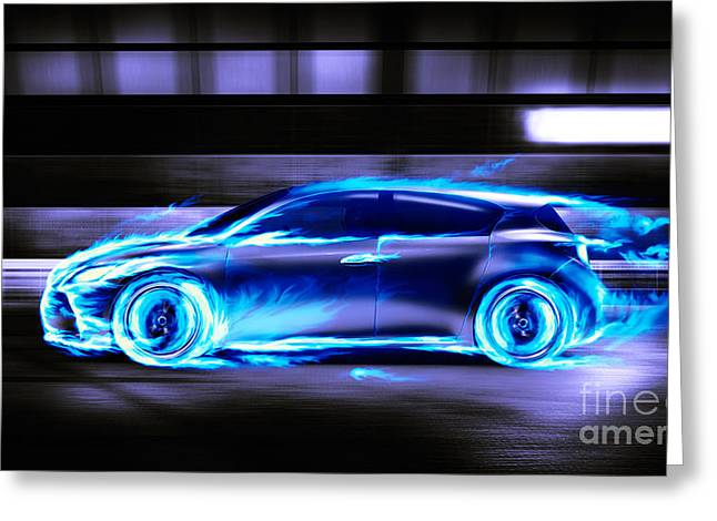 Rally Greeting Cards - Car burning in blue flames racing in a tunnel Greeting Card by Oleksiy Maksymenko