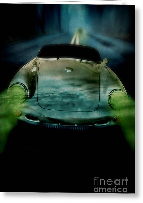 Headlight Greeting Cards - Car chase at night Greeting Card by Edward Fielding
