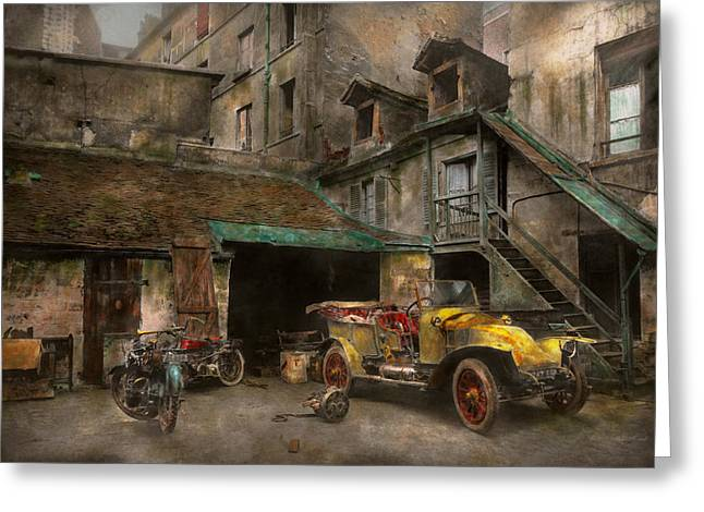 Jalopy Greeting Cards - Car - Cour Rue de Valencemm France - A Sunday afternoon - 1925 Greeting Card by Mike Savad
