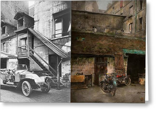 Touring Car Greeting Cards - Car - Cour Rue de Valencemm France - A Sunday afternoon - 1925 - Side by side Greeting Card by Mike Savad