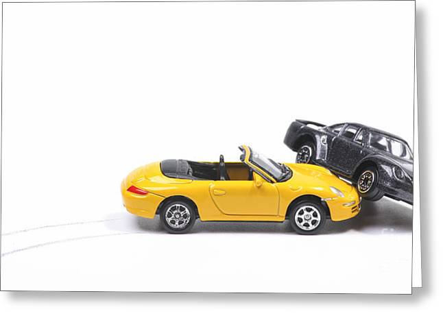 Overturn Greeting Cards - Car crash between sportscar and sedan Greeting Card by Patricia Hofmeester