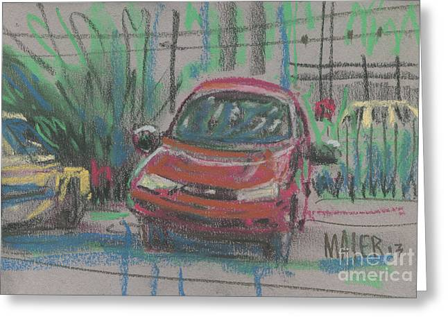 Auto Drawings Greeting Cards - Car Crazy Greeting Card by Donald Maier