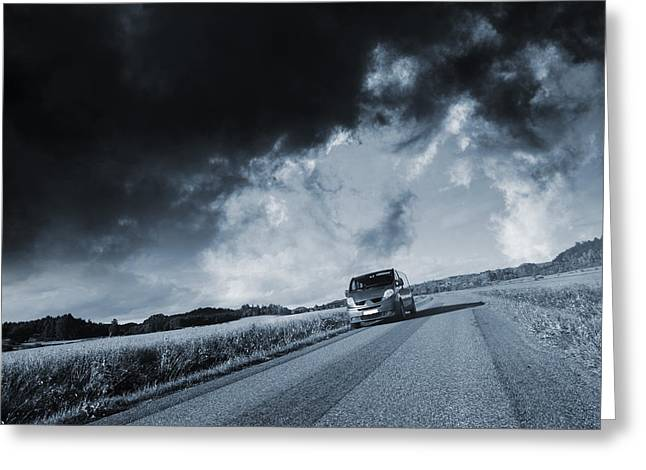 Stormy Weather Greeting Cards - Car Drive In Stormy Weather Greeting Card by Christian Lagereek