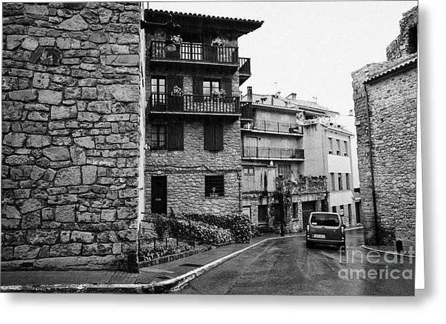Antic Car Greeting Cards - Car Driving Through Narrow Streets Of Old Town Of Medieval Baga Catalonia Spain Greeting Card by Joe Fox