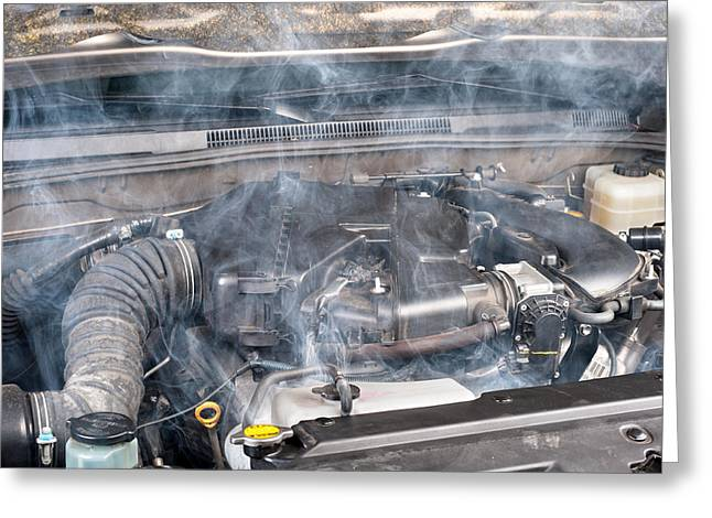 Overheating Greeting Cards - Car engine Greeting Card by Joe Belanger
