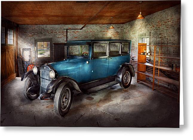 Interior Scene Photographs Greeting Cards - Car - Granpas Garage  Greeting Card by Mike Savad
