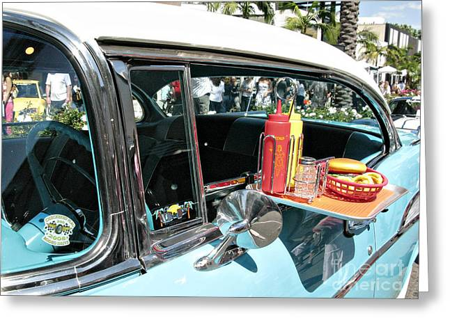 French Fries Greeting Cards - Car hop Greeting Card by Nina Prommer