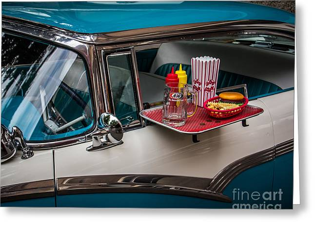 Hamburger Greeting Cards - Car Hop Greeting Card by Perry Webster
