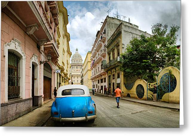 In-city Greeting Cards - Car In A Street With A Government Greeting Card by Panoramic Images