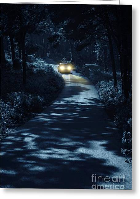 Mysterious Greeting Cards - Car in the Woods Greeting Card by Carlos Caetano
