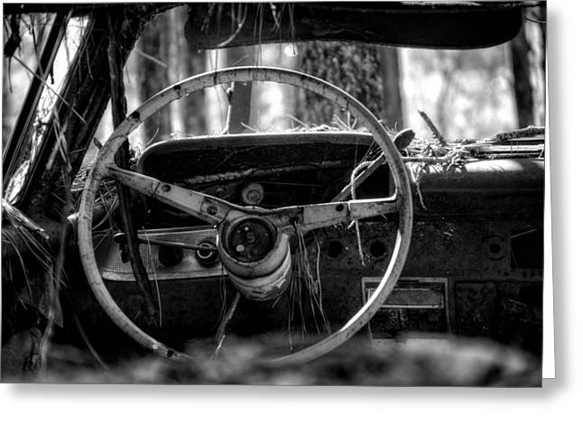 Junk Greeting Cards - Car in the Woods in Black and White Greeting Card by Greg Mimbs