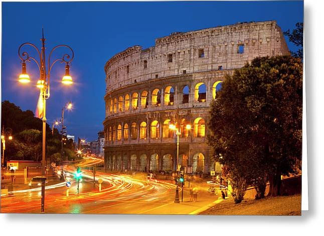 Car Light-trails In Front Of The Roman Greeting Card by Brian Jannsen