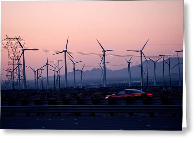 Environmental Conservation Greeting Cards - Car Moving On A Road With Wind Turbines Greeting Card by Panoramic Images