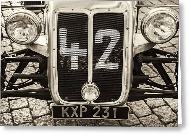 Racecar Number Greeting Cards - Car Number 42 BW Greeting Card by Martin Bergsma