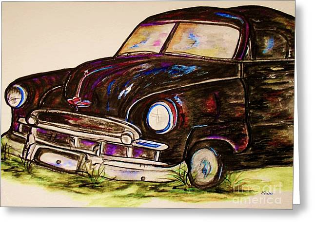 Collector Car Mixed Media Greeting Cards - Car of Character Greeting Card by Eloise Schneider