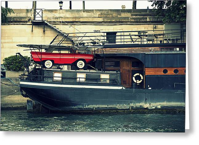 Quay Wall Greeting Cards - Car on a boat Greeting Card by Chevy Fleet
