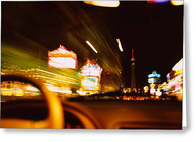Steering Greeting Cards - Car On A Road At Night, Las Vegas Greeting Card by Panoramic Images