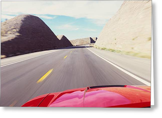 Road Marking Greeting Cards - Car On A Road, Outside Las Vegas Greeting Card by Panoramic Images