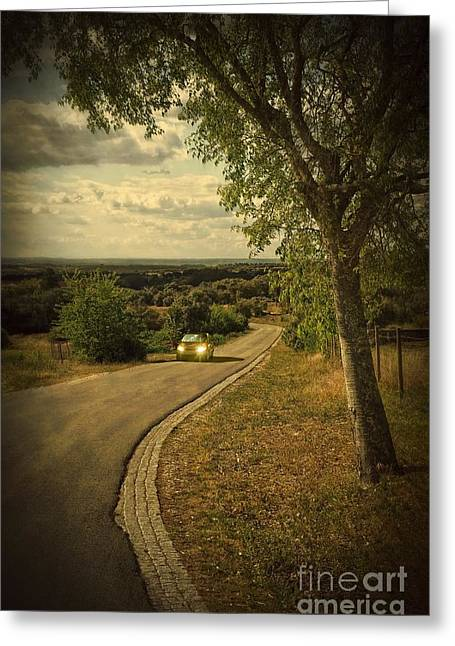 Mysterious Greeting Cards - Car On Road Greeting Card by Carlos Caetano